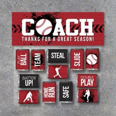 Quick and easy Baseball Coach gift for end of the season! Show your appreciation with these printable mini candy bar wrappers and treat topper! Printable Instant Download by Studio 120 Underground, $6.