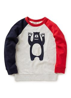 100% cotton french terry sweat with contrast raglan sleeves and front bear print