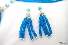 Blue tassel earrings apatite and blue pearls by pzmdesigns on Etsy