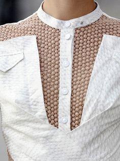 Shirt design with contrasting pattern & texture + elegant symmetry; fashion details // Peter Pilotto