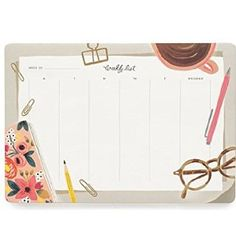 Rifle Paper Co. Desktop Weekly Planner Desk Pad Mouse Pad
