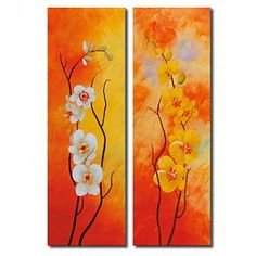Hand-painted Floral Oil Painting with Stretched Frame - Set of 2 - OutletsArt.com