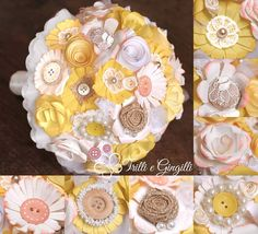 Bouquet con fiori di carta gialli e bianchi. Alternative bouquet with yellow paper flowers and buttons. #bouquet #wedding