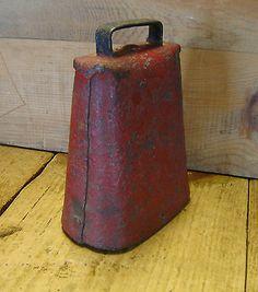 Large Primitive Antique Cow Bell Old Red Paint Vintage Farm Iron Metal Folk Art | eBay