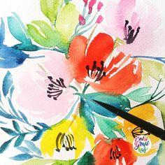 Looking closely to Gansai Tambis colors so far loving it!!! #calligrafikas #watercolor #botanicalwatercolor Paper: Canson 200gsm Paint: Kuretake Gansai Tambi Brush: Silver Brush Black Velvet round no 6