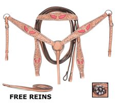 "Show off your horse with this beautiful and unique tack set! The full set includes hand carved premium leather headstall, reins and breast collar. The design features an intricate ""Wing"" design with bright pink hair on hide cowhide inlays. Quality leather makes this set an amazing deal! ONLY $69.99"