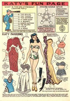 The first issue of Katy Keene Annual by MLJ/Archie Comics in Doll Toys, Barbie Dolls, Creation Art, Paper Dolls Printable, Christmas Paper Crafts, Archie Comics, Vintage Paper Dolls, Vintage Patterns, Paper Art