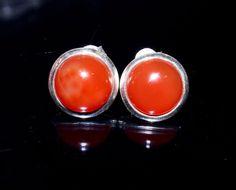 92.5 Solid Sterling Silver Carnelian Stud Earring / Semi