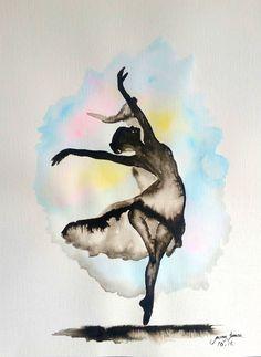 "Original Ballerina  painting India Ink 11""x14"" by LimonArtStudio on Etsy"
