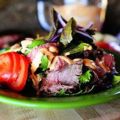 I love this recipe for marinated flank steak. It arose from an old marinated flank steak recipe my mom used to make. Hers is perfectly delicious, but I decided to branch off and eliminate her Worce…