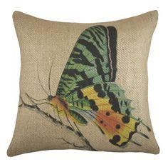 Butterfly Burlap Throw Pillow