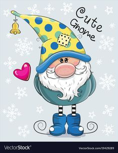 Greeting Christmas card Cute Cartoon Gnome on a blue background Christmas Rock, Christmas Gnome, Winter Christmas, Christmas Crafts, Christmas Decorations, Christmas Ornaments, Illustration Noel, Christmas Paintings, Digi Stamps