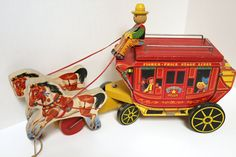 Vintage Fisher Price Stagecoach Pull Toy Gold by That70sShoppe, $295.00