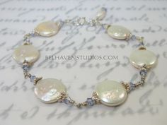 White freshwater coin pearls and tanzanite by BelhavenStudios