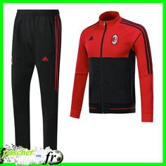 Thailande Survetement de Foot - Veste Milan AC Rouge/Noir 2018 Football, Adidas Jacket, Milan, France, Athletic, Zip, Jackets, Fashion, Athletic Clothes