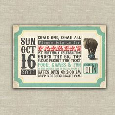 25 vintage circus invitations, kids, birthday, carnivale, carnival, children. $37.50, via Etsy.