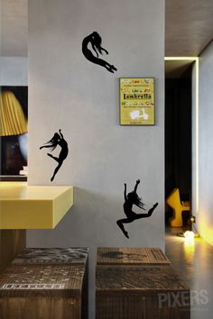 Basic vinyl wall decals - you can use them to pimp-up a wall and create a magical link between flatness of the wall and tridimensional reality! Flower Wall Decals, Vinyl Wall Decals, Wall Painting Decor, Wall Decor, Dance Rooms, Dance Bedroom, Dance Studio Design, Purple Bedrooms, Antique Grandfather Clock