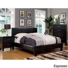 Furniture of America Kutty Queen Padded Leatherette Platform Bed | Overstock™ Shopping - Great Deals on Furniture of America Beds