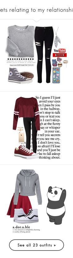 """""""Sets relating to my relationship"""" by lost-in-a-paper-town ❤ liked on Polyvore featuring Miss Selfridge, Blair, Converse, Nina B, Beats by Dr. Dre, Love Quotes Scarves, Accessorize, Vans, Keds and Zoe Karssen"""