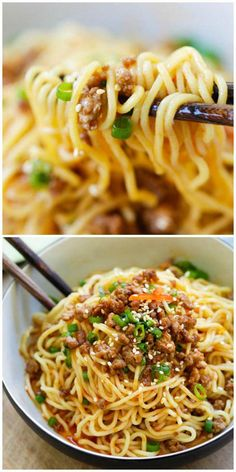 Dan Noodles Dan Dan Noodles - Savory and spicy Sichuan noodles served with ground meat make for a delicious meal at home. Learn how to make it with this easy recipe Asian Noodle Recipes, Asian Recipes, Fish Recipes, Chicken Recipes, Healthy Recipes, Ethnic Recipes, Rice Noodle Recipes, Delicious Recipes, Rice