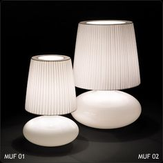 Muf Table Lamp by Bover - Color: White Ribbon - Finish: Chrome - Glass Table, A Table, Unique Table Lamps, White Table Lamp, White Ribbon, Incandescent Bulbs, Lamp Bases, Lamp Design, Modern Lighting