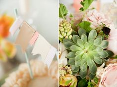 bunting with beautiful, soft pink & green colors