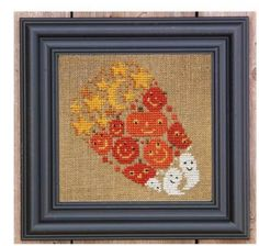 "Candy Corn Of Mischief is the title of this cross stitch kit from Bent Creek that includes the 18 Ct Linen, Pearl 5 Cotton Floss and the cross stitch pattern. The finished size is 6"" x 6""."