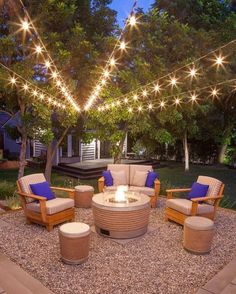 Wooden Garden Seating area with fire pit. Modern backyards with outdoor fire place, Rattan furniture and Pergola Modern Backyard, Backyard Patio Designs, Backyard For Kids, Backyard Landscaping, Patio Ideas, Pergola Ideas, Pergola Kits, Garden Ideas, Landscaping Ideas