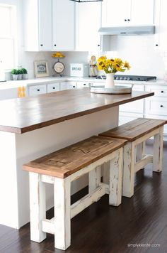 DIY Kitchen Benches | simplykierste.com | These charming farmhouse style kitchen benches are perfect up at your island! They're easy to make, clean, and give you extra seating space!