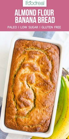 Almond Flour Banana Bread is moist and melt in your mouth loaf entire family will love. Paleo, low sugar and gluten free. Almond Flour Banana Bread is moist and melt in your mouth loaf entire family will love. Paleo, low sugar and gluten free. Banana Bread Almond Flour, Gluten Free Banana Bread, Almond Flour Recipes, Easy Banana Bread, Sugar Bread, Low Sugar Banana Bread, Almond Meal Banana Bread Recipe, Almond Flour Cakes, Almond Flour Baking