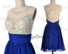 Royal Blue Short Prom Dresses Straps Short by BottegaDresses, $129.00