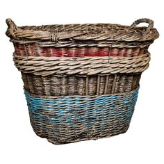 French Champagne Basket Late 19th Century