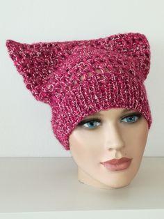 Sommerlich leichte Pussy Hat,hergestellt aus einem federleichten Leinen/Baumwolle/Wolle Mix