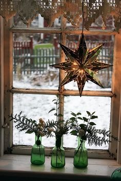 A lovely winter windowsill display.