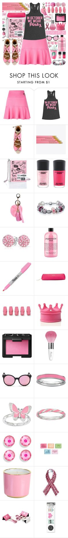 """""""We Wear Pink (Mean Girls)"""" by beautifully-eclectic ❤ liked on Polyvore featuring Kenzo, Malone Souliers, Current Mood, M.A.C, Mikey, Bling Jewelry, philosophy, Sharpie, Smythson and NARS Cosmetics"""