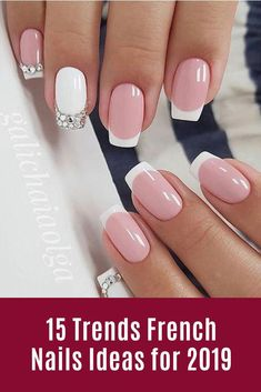 15 Trends French Nails Ideas for 2019 # French Nails . - 15 Trends French Nails Ideas for 2019 # French nails - Ombre French Nails, French Nail Art, French Tip Nails, French Tip Nail Designs, Nail Art Designs, Short Fake Nails, Holiday Nails, Summer Nails, Summer French Nails