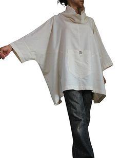 ChomThong Hand Woven Cotton High Neck Poncho Tunic by SawanAsia Boho Fashion, Fashion Dresses, Womens Fashion, Style Fitness, Hijab Style, Moda Chic, Simple Shirts, Sewing Clothes, Dressmaking