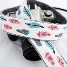 dSLR Camera Strap White Retro Feathers Feather by TheSweetStrap @chelseapangle did you see this one