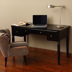 @Overstock - Enhance the beauty of your home with this stylish writing desk with drawers. Its versatile design and lush black exterior has three drawers, right, left, and center. Its sophisticated styling makes it a popular selection for a bedroom or home office.http://www.overstock.com/Home-Garden/Cami-Black-3-drawer-Writing-Desk/6641492/product.html?CID=214117 $209.99