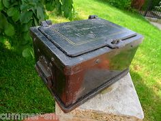 ANTIQUE 1870 iron safe strongbox train stagecoach Wells Fargo Bank Railroad