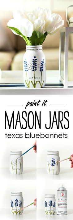 Painted Texas bluebonnet mason jar craft idea. Painted distressed mason jar crafts. How to paint Texas bluebonnets easy diy. Painted blue flower tutorial.