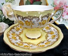 ROYAL STANDARD TEA CUP AND SAUCER YELLOW TEACUP ROSES PATTERN