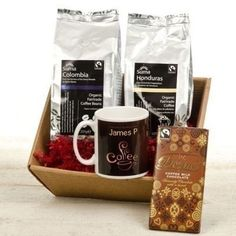 A Personalised Coffee Hamper with a personalised mug and bar of chocolate is a brilliant gift for anyone who likes to unwind with quality coffee and a sweet treat. #Chocolate #Coffee #PersonalisedGifts #ChocolateDay  £29.99