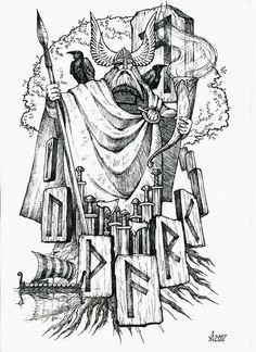 ) Odin and the Runes (and also His RAVENS! Norse Pagan, Norse Mythology, Viking Symbols, Viking Art, Viking Character, Character Art, Odin Allfather, Thor, Ancient Runes