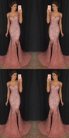 2018 Sexy Mermaid Evening Dresses With Trailing, V-Neck Beaded Split Side Prom Dresses M1445