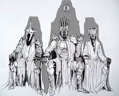 Sauron and his most trusted and powerful servants- Witchking of Angmar and Mouth of Sauron; just my odd vision Council of Mordor Tolkien Tattoo, Jrr Tolkien, Hobbit Art, O Hobbit, High Fantasy, Fantasy World, Das Silmarillion, Lord Of The Rings Tattoo, Middle Earth