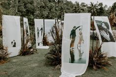 Photo installation for Sylvia & Tirto's wedding day. Incorporating flowy material as the photo canvas, this design would surely invoke an…