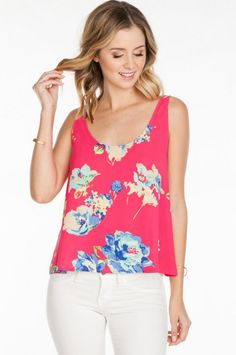 Everly Flirty and Floral Round Neck Top