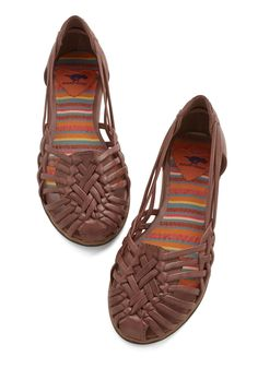 Strappy and I Know It Flat in Mocha. Theres no denying it - you feel sassy in these strappy flats! #brown #modcloth