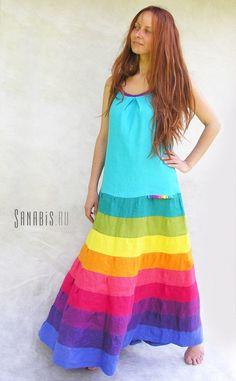 Linen Maxi Tank Dress Ladies Long Boho Turquoise by Sanabis